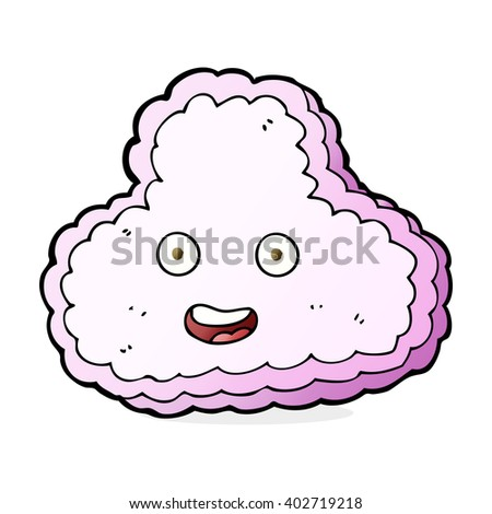 cartoon pink cloud with happy face - stock vector
