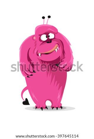 Cartoon  pink monster on white background. Vector illustration - stock vector