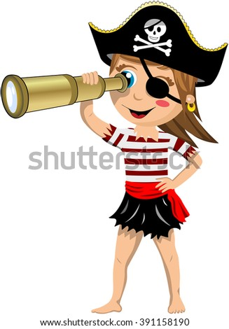Cartoon Pirate Girl Barefoot With Eye Patch Observing The Horizon A Telescope Isolated
