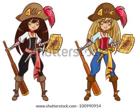 Cartoon pirate girl with treasure map and telescope - stock vector