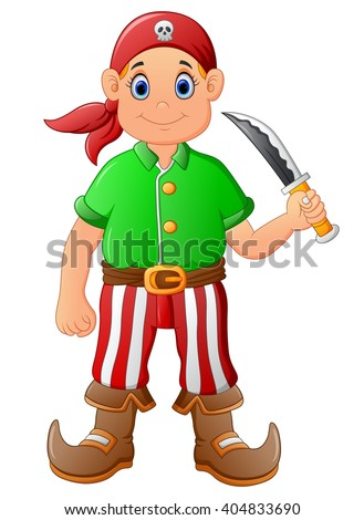 cartoon pirate holding knife