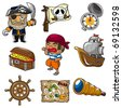 cartoon pirate icon - stock vector