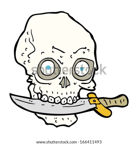 cartoon pirate skull with knife in teeth