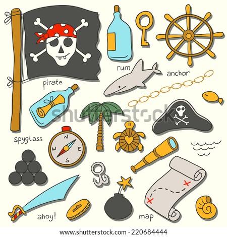 Cartoon pirate vector set. - stock vector
