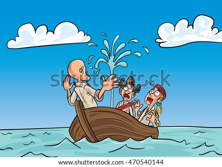 Cartoon pirates in a sinking rowboat floating on the sea