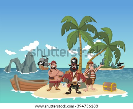 Cartoon pirates on a beautiful tropical beach with gold chest  - stock vector