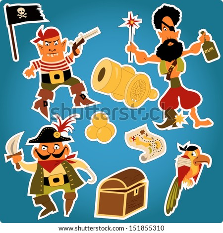 Cartoon pirates stickers. Set of funny cartoon pirates characters, with cannon, map, parrot and a flag, outlines for easy cutting. - stock vector