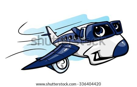 Cartoon plane - stock vector
