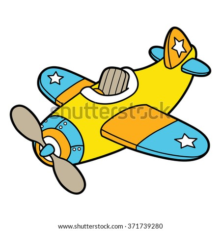 Cartoon plane. Vector illustration of cute cartoon plane for children and scrap book
