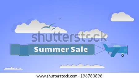 Cartoon plane with banner flying among sky and clouds.