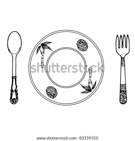 cartoon plate, fork and spoon