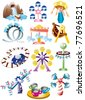cartoon playground icon set - stock vector