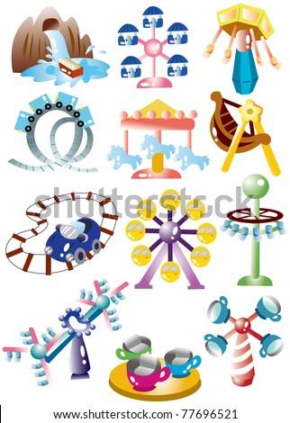 cartoon playground icon set - stock vector