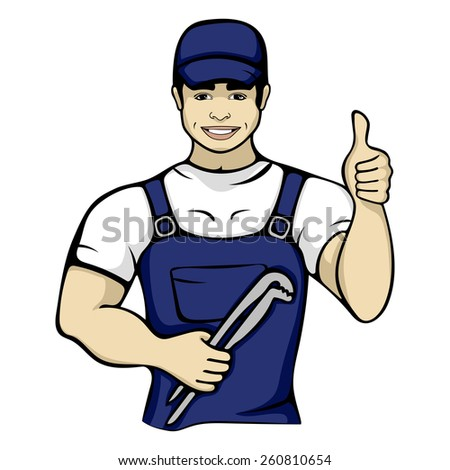 Cartoon plumber holding a monkey wrench. Isolated vector illustration of a worker service handyman character person in a blue cap - stock vector