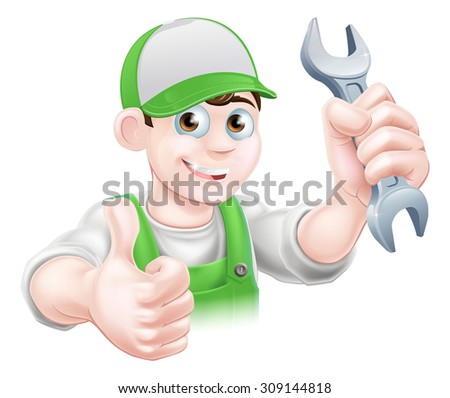 Cartoon Plumber or mechanic with a wrench or spanner in green dungarees giving a thumbs up - stock vector