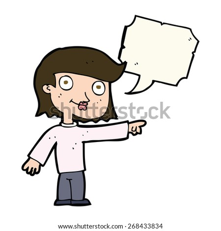 cartoon pointing person with speech bubble - stock vector