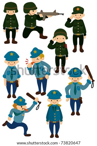 cartoon police and army  icon - stock vector