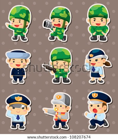cartoon police and soldier stickers - stock vector