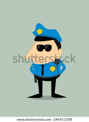 Cartoon police officer - stock vector