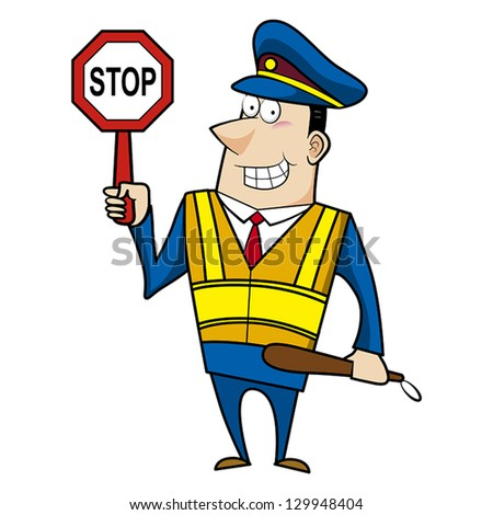 Cartoon police officer man with safety vest and stop sign. - stock vector
