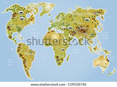 Cartoon political map - stock vector