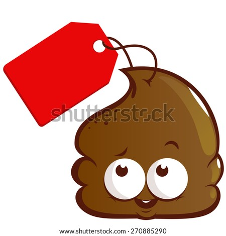 Cartoon poop with price tag. Vector illustration of a cute cartoon poop with a price tag. - stock vector
