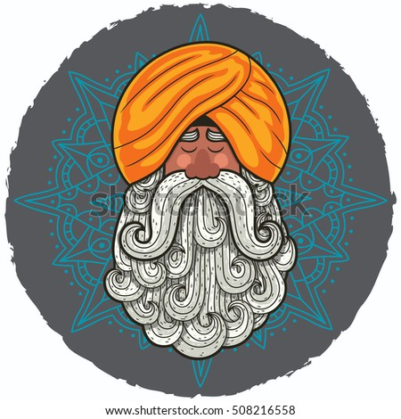 Cartoon portrait of Indian guru with big beard.
