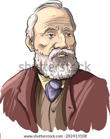 Cartoon portrait of William Thomson Kelvin. - stock vector