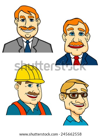 Cartoon portraits of men with different professions businessman in suit, manager, builder in helmet and doctor in medical uniform - stock vector