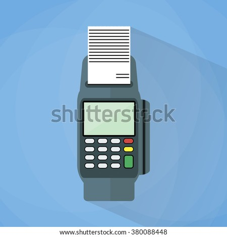 cartoon pos payment terminal. Vector Illustration in flat design on blue background with long shadow