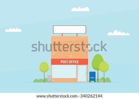 Cartoon post office building - stock vector