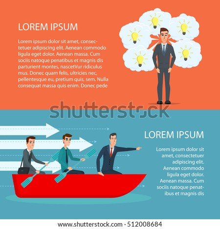 Cartoon poster vector illustration. Banners for your web design in business style. Template for your text. Business characters set.