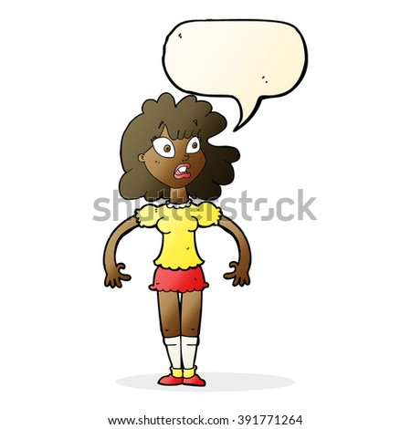 cartoon pretty girl with shocked expression with speech bubble - stock vector