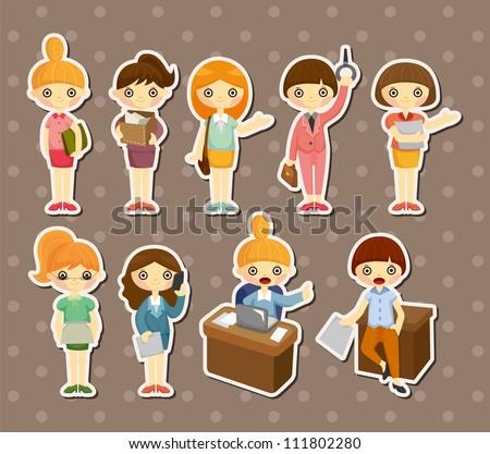 cartoon pretty office woman worker stickers - stock vector