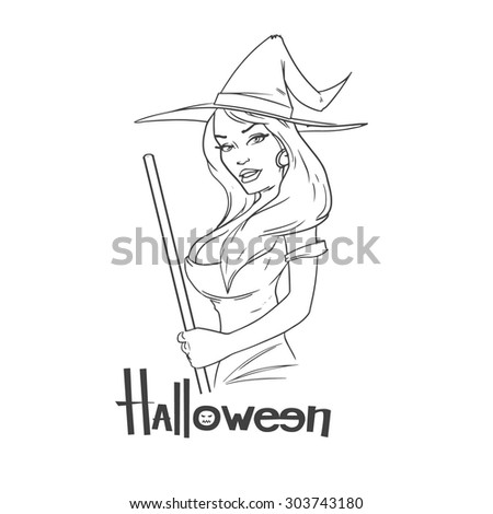 cartoon pretty witch broom on isolated stock vector 303743180