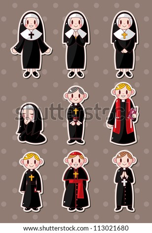 cartoon priest stickers - stock vector