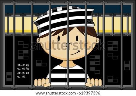 cartoon prisoner jail cell stock vector 2018 619397396 shutterstock rh shutterstock com cartoon jail cells pictures Open Jail Cell Cartoon