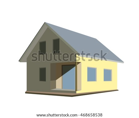 Cartoon private building, modern house isolated on white flat style vector illustration