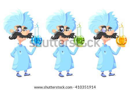 Cartoon Professor with glass tube of sparkling liquid with different colors and eyes in huge glasses - stock vector