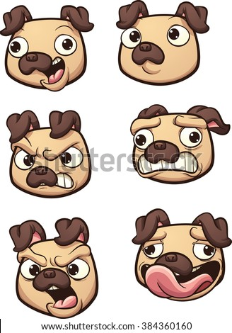 Cartoon Pug dog with different expressions. Vector clip art illustration with simple gradients. Each on a separate layer. - stock vector