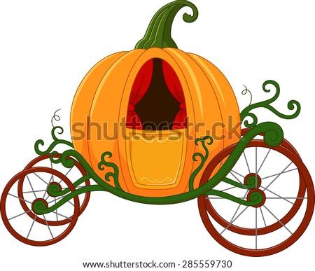 Cartoon Pumpkin carriage - stock vector