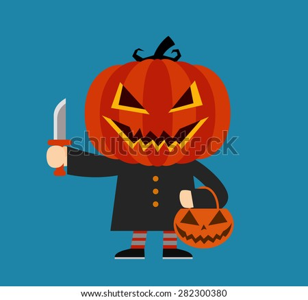 Cartoon pumpkin character. Halloween costume. - stock vector