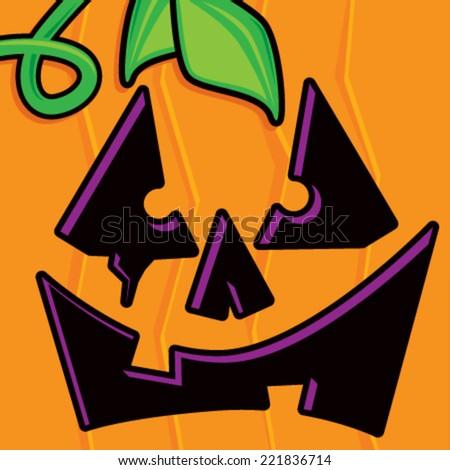 Cartoon Pumpkin Face - stock vector