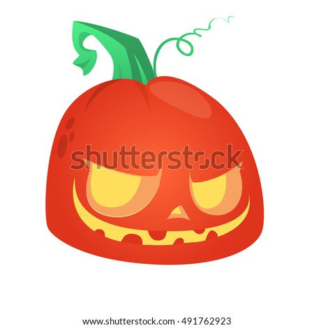 Cartoon pumpkin head. Halloween vector illustration