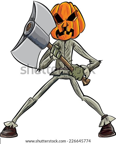 Cartoon pumpkin head with an axe. Isolated - stock vector