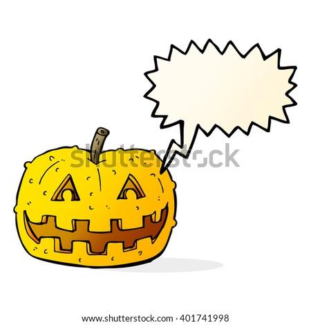 cartoon pumpkin with speech bubble - stock vector