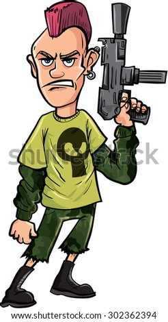 Cartoon punk with machine gun. Isolated on white - stock vector
