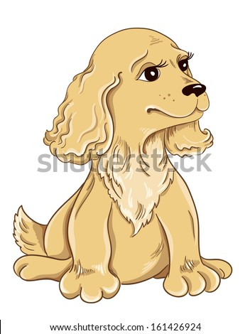 Cartoon puppy drawing on white background - stock vector