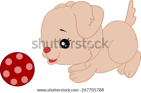 Cartoon puppy playing with ball