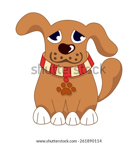 Cartoon puppy, vector illustration of cute dog wearing a red collar with pet paw tag, sad doggy - stock vector